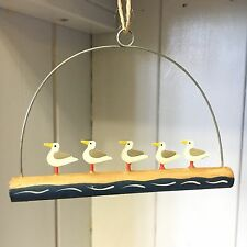 Shoeless joe 5 mini seagulls on a stick, coastal hanging decoration. Seaside