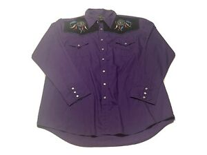 Vintage High Noon Western Pearl Snaps Shirt Mens XL Embroidered Native Art