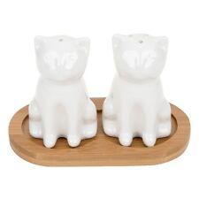 WHITE BAMBOO CAT SALT AND PEPPER POT SET