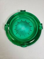 "Depression Glass Art Deco/Nouveau MCM Steigel Emerald Green Sunburst 5"" Ashtray"