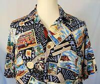 Reyn Spooner Joe Kealuhas Hawaiian Shirt Mens Size L Vintage Woody Surfing Beach