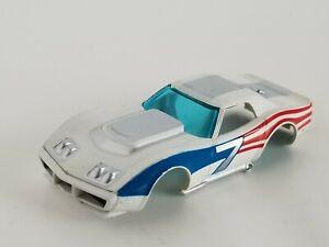 AFX AURORA CORVETTE #7 USA-1 WHITE VINTAGE HO SLOT CAR BODY ONLY
