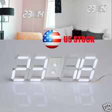 USB 3D Watch Digital LED Modern Desk Wall Clock 24/12 Hour Display Home Decor US
