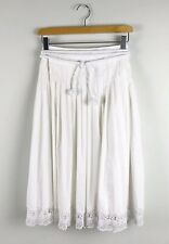 Robert Rodriguez Women's Embroidered White Midi Skirt Size 4 Rope Belt Pleated