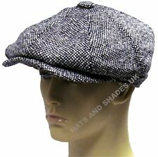 New Grey Tweed Gatsby Cap Hat Mens Ladies Flat Country 8 Panel Baker Boy Newsboy