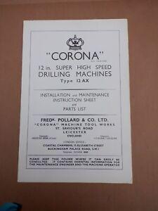 POLLARD CORONA 12AX DRILLING MACHINE INSTRUCTION BOOKLET