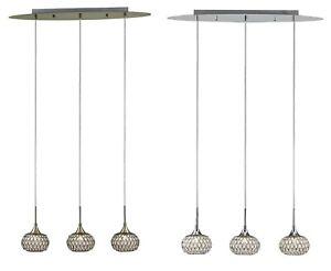 Crystal Hanging Bar Pendants Linear 3 Light Slim Modern Antique Brass or Chrome