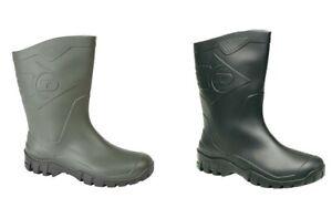 Dunlop HEVEA Green or Black Half Length Welly Wide Calf Wellington Boots Wellies