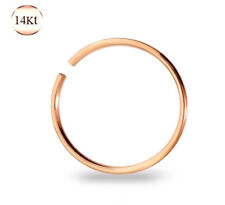14K SOLID ROSE GOLD BEND CLIP OPEN HOOP RING EAR NOSE TRAGUS DAITH BODY JEWELRY