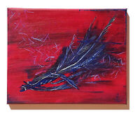 Ölmalerei Gemälde Wandbild Federn Handgemalt Original Signiert 24x30 SR-Arts