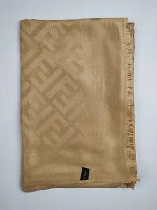 FENDI Genuine vintage Beige 100% wool Silk Effect Large wrap shawl scarve