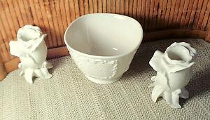 2 Lenox Rosebud Candleholders & 1 Square Bowl / Ivory