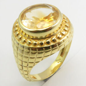 Gold Plated Natural CITRINE Ring Size 6.25 Handmade Jewelry 925 Sterling Silver