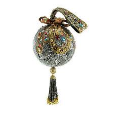 Mary Frances Handbag Adornment Silver Gold Metallic Round Framed Beaded Tassel