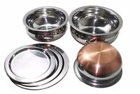 Stainless Steel With Copper Botttom Handi Serving Bowl With Lid 3 Pcs Set