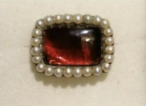 39mm Garnet And Pearl Brooch. Jewellery. Antique. 1853