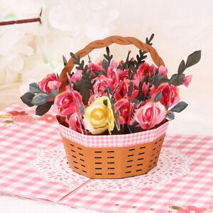Handmade Invitation Birthday Anniversary Gift Flower Basket 3D Pop Up Card