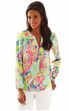 New Lilly Pulitzer Stacey Blouse, 100% Silk Top, Multi Casa Banana, XS, S
