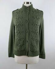 Talbots Womens Wool Angora Cashmere Ls Button Up Army Green Cardigan Sweater Pm
