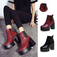 WOMENS LADIES CHELSEA ANKLE BOOTS CHUNKY PLATFORMS HIGH BLOCK HEELS ZIP UP SHOES