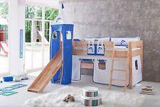 Vorhang mit Turm Stoff für Hochbett Spielbett Kinderbett weiß blau Delfin Klett