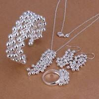 Silver wedding Fashion bead Women Ring Earring Bracelet Necklace Set jewelry