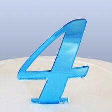 numéro 4 écriture Miroir acrylique bleu Figurien pour gâteau (approximativement
