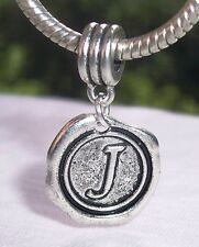 Letter J Wax Stamp Alphabet Initial Dangle Charm for European Bead Bracelets