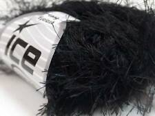 38Yds Black Extra Long Eyelash Yarn Ice Luxurious Solid Black Fun Fur 50gr 7711