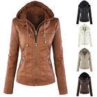 Women's Casual Slim Hooded Coat PU Leather Biker Jacket Warm Outwear Parka Tops
