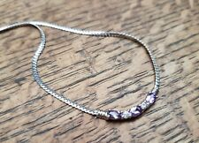 """Amethyst and Cubic Zirconia sterling silver flat curb chain necklace 18"""""""