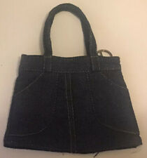 Small Denim Handbag With Handles