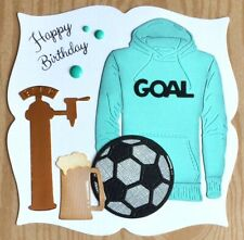 Handmade By Susie Luxury Beer Football Fan Goal Hoodie Birthday Card Topper
