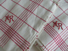 """Pair of Large Linen Towels Red Stripes Monogr Mr 30"""" by 23 """" Us-$22.50"""