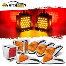 5xAmber 31LED Cab Marker Roof Top Lights+2pc Stop Turn Tail Lights for Peterbilt