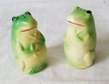 Pair of Green Ceramic Frog Shaped Salt and Pepper Shakers