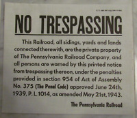 PENNSYLVANIA RAILROAD CANVASS NO TRESPASSING SIGN FORMCT1500 DATED NOVEMBER 1951