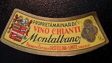 ETICHETTA LABEL da fiasco VINO CHIANTI MONTALBANO  Vintage anni'50  cm 10 x 3,5