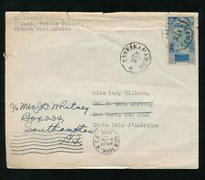 French Guinea 1936 Dec 31st Railway Tpo + Single Franking + Forwarded in Usa