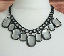 STATEMENT Necklace Black Chain Mirrored Diamontes Chunky Costume Jewellery