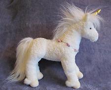 "Rare NWOT DOUGLAS Cuddle Plush White Silky UNICORN 14"" Horse Purple Flowers MINT"