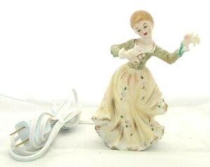 Lamp Night Light Figurine Mid-Century VTG. Bisque Porcelain Lady