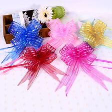 10x Organza Yarn Pull Bows Ribbons Wedding Party Flower Decor Gift Wraps