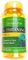 200mg Serving L-Theanine 60 Capsules Calming Relaxing Mood Support Supplement