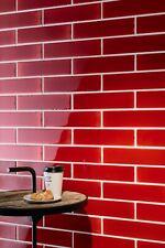 Piastrelle in Ceramica Rosso per BAGNO e CUCINA 6,5x26 cm - MADE IN ITALY