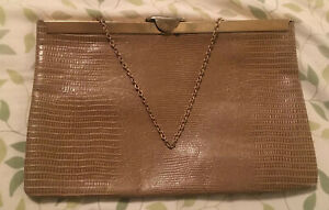 Vtg 60s ETRA Purse Bag Brown Gold Metal Frame EMBOSSED LIZARD LEATHER ~ AS IS