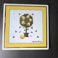 "Georges Briard Lemon Tree Tile Enamel Metal 8"" square"
