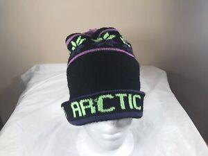 Vintage 70's/80's Classic Arctic Cat Snowmobile Winter Green Pom Pom Tassel Hat