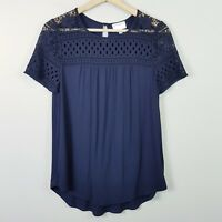 [ WITCHERY ] Womens Navy Blouse Top w/ crochet detail | Size XS or AU 8 / US 4