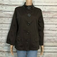 Sonoma Button Front Casual Jacket XL Dark Brown Cotton Long Bell Sleeve Pockets